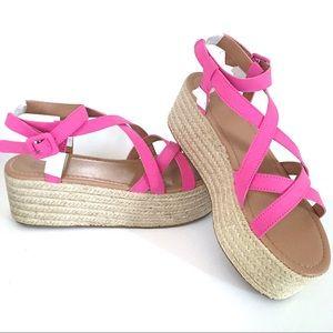 NIB UO Strappy Pink Platform Espadrille Sandals